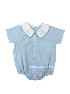 Auraluz Boy Bubble/Button-Front..Blue w/binding trim, white boy collar and embroidered train