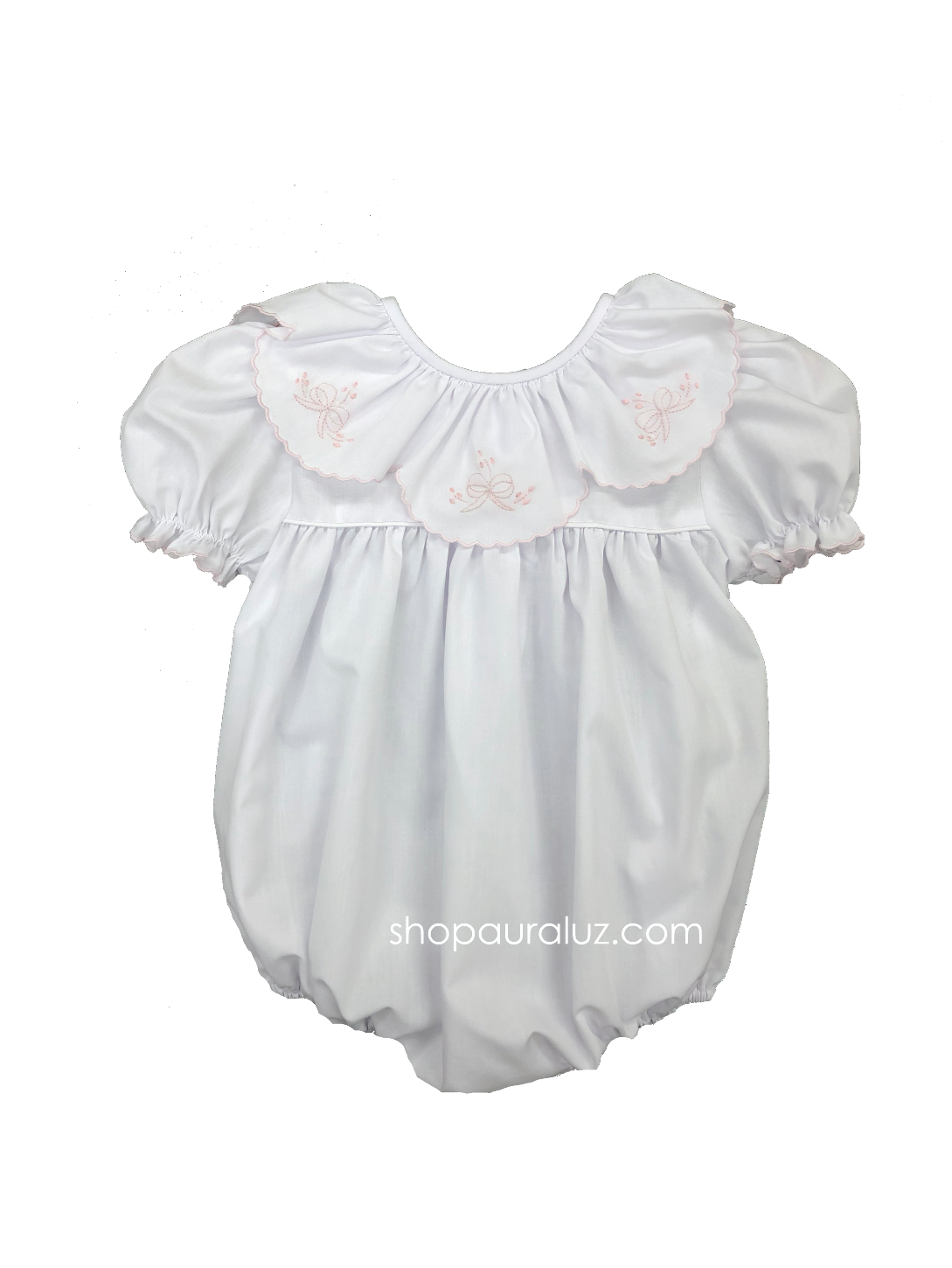 Auraluz Bubble...White with ruffle collar and pink embroidered bows