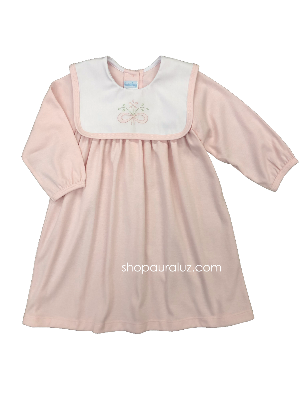 Auraluz Knit Dress...Pink with white square collar and embroidered bow