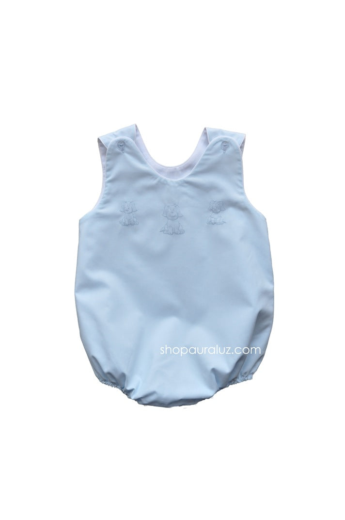 Auraluz Sleeveless Bubble..Blue with white binding and embroidered puppies