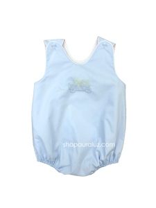 Auraluz Sleeveless Bubble..Blue with white binding and embroidered wagon w/puppy and teddy