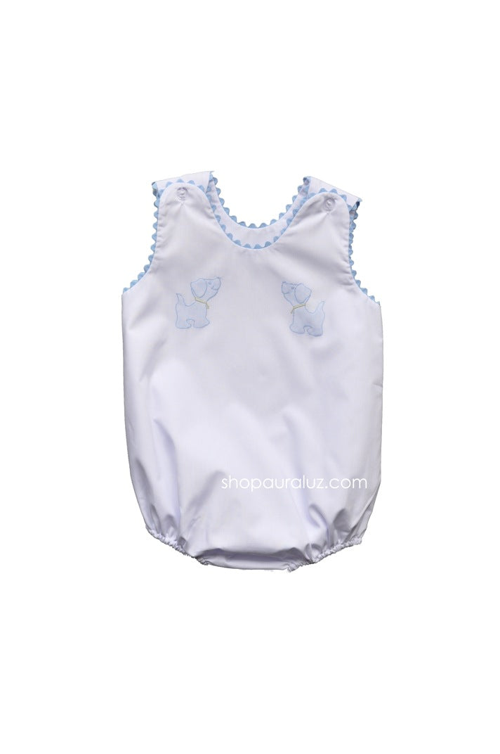Auraluz Sleeveless Bubble..White with blue ric-rac and embroidered dogs