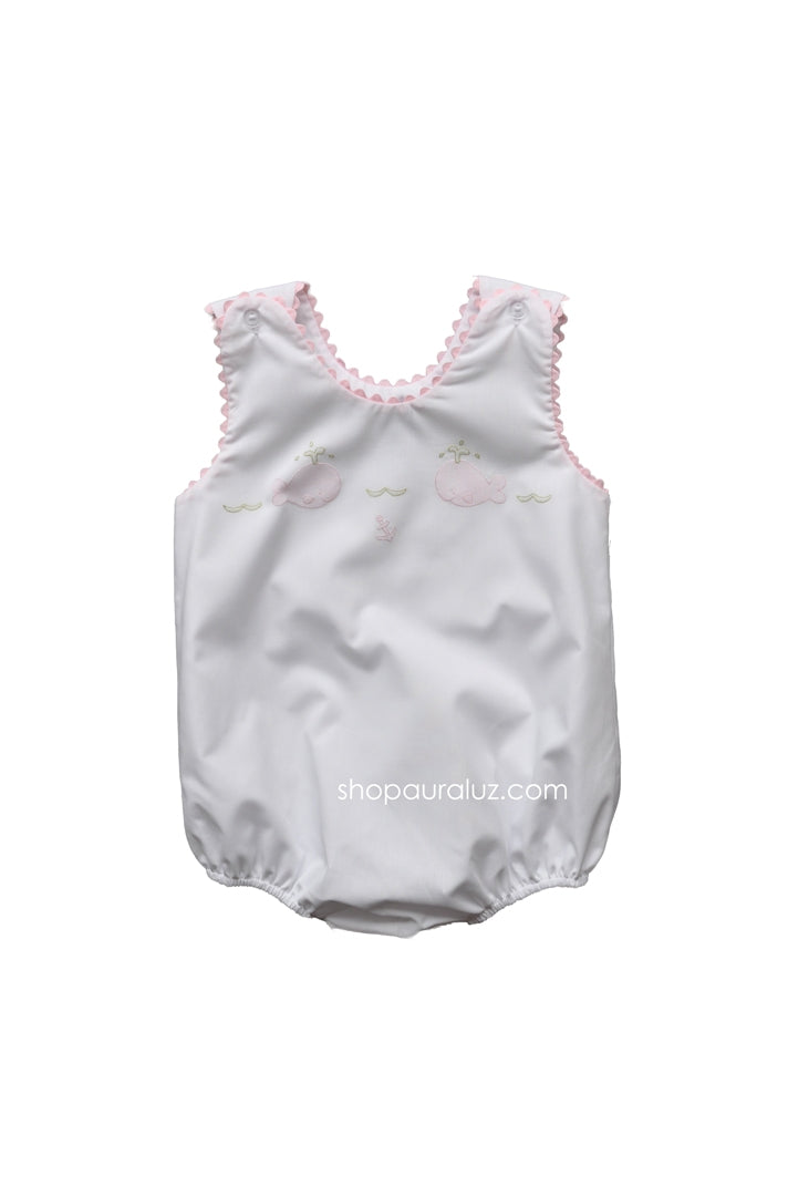 Auraluz Sleeveless Bubble..White with pink ric-rac and embroidered whales