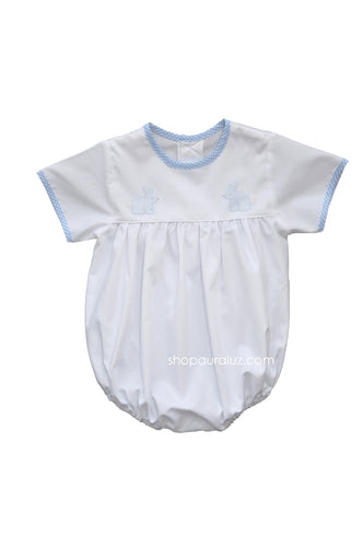 Auraluz Boy Bubble..White w/blue check trim, no collar and embroidered bunnies