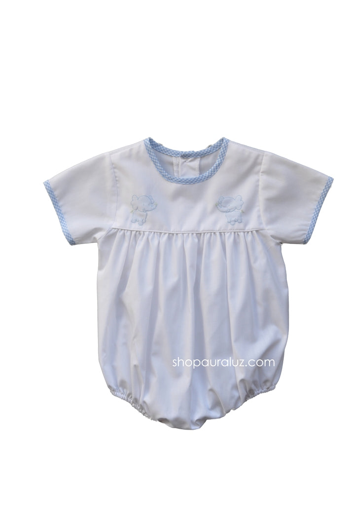 Auraluz Boy Bubble..White w/blue check trim, no collar and embroidered elephants