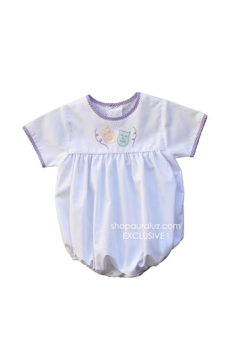 Auraluz Mardi Gras Boy Bubble..White w/purple check trim, no collar and embroidered masks. STORE EXCLUSIVE!