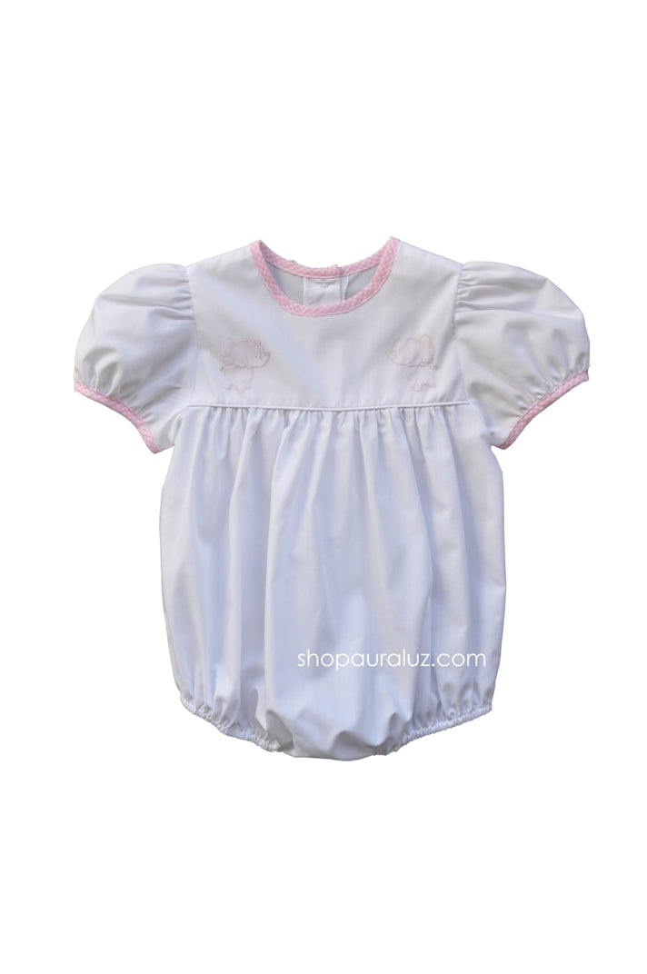 Auraluz Girl Bubble..White w/pink check trim, no collar and embroidered elephants