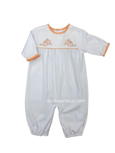 Load image into Gallery viewer, Auraluz Knit l/s Convertibag...White with orange check binding and embroidered pumpkins. STORE EXCLUSIVE!