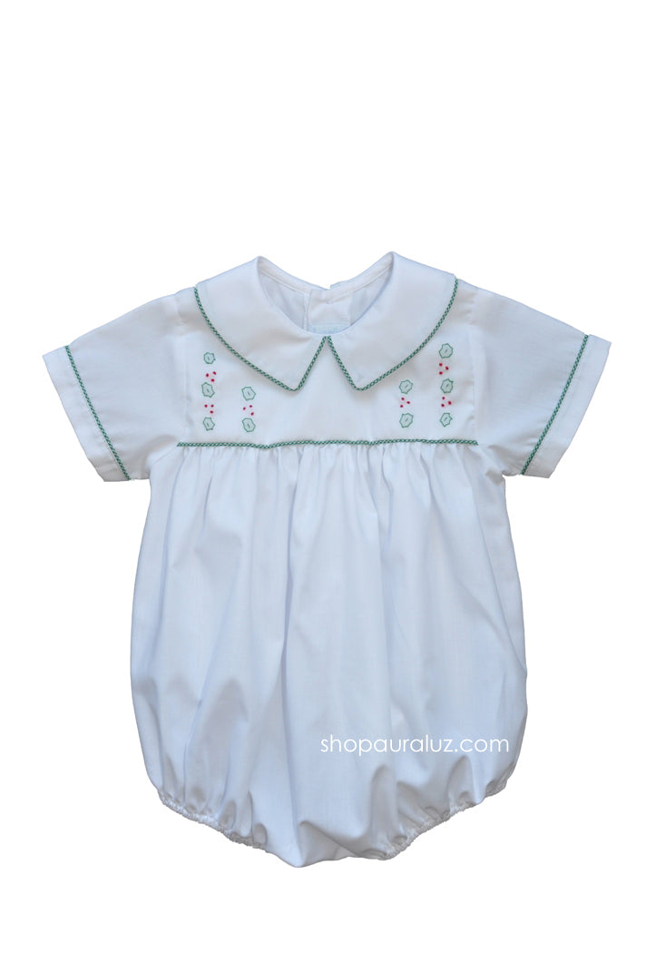 Auraluz Boy Bubble..White w/green check trim, boy collar and embroidered holly