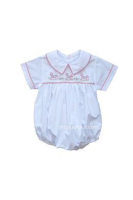 Auraluz Boy Bubble..White with red check trim, boy collar and embroidered horses