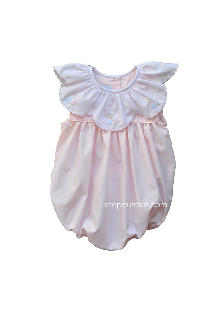 Auraluz Sleeveless Bubble..Pink with ruffle collar and embroidered flowers