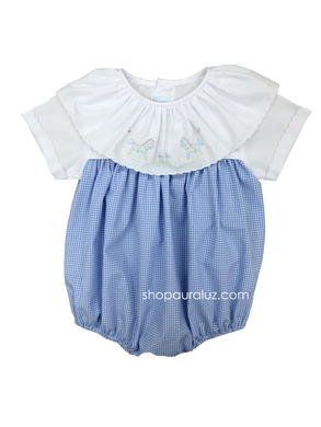 Auraluz Boy Bubble...Blue check with white ruffle collar and embroidered rocking horses