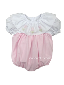Auraluz Girl Bubble...Pink check with white ruffle collar and embroidered flowers
