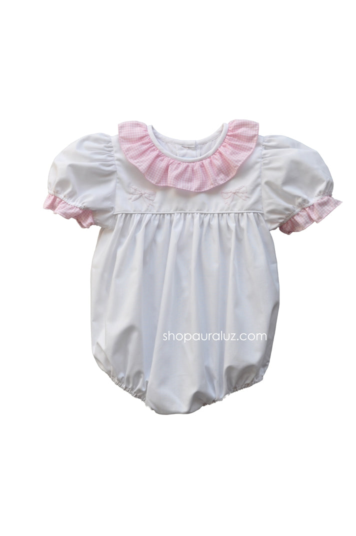 Auraluz Girl Bubble..White w/pink check sm.ruffle collar and embroidered ribbons