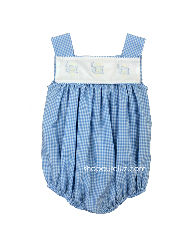 Auraluz Sleeveless Bubble..Blue check with embroidered fish