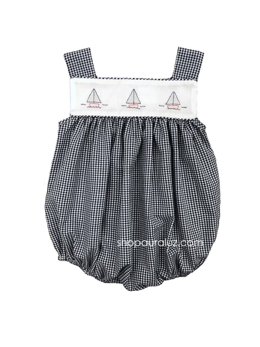 Auraluz Sleeveless Bubble..Navy check with embroidered boats
