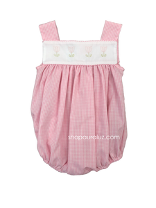 Auraluz Sleeveless Bubble..Pink check with embroidered tulips
