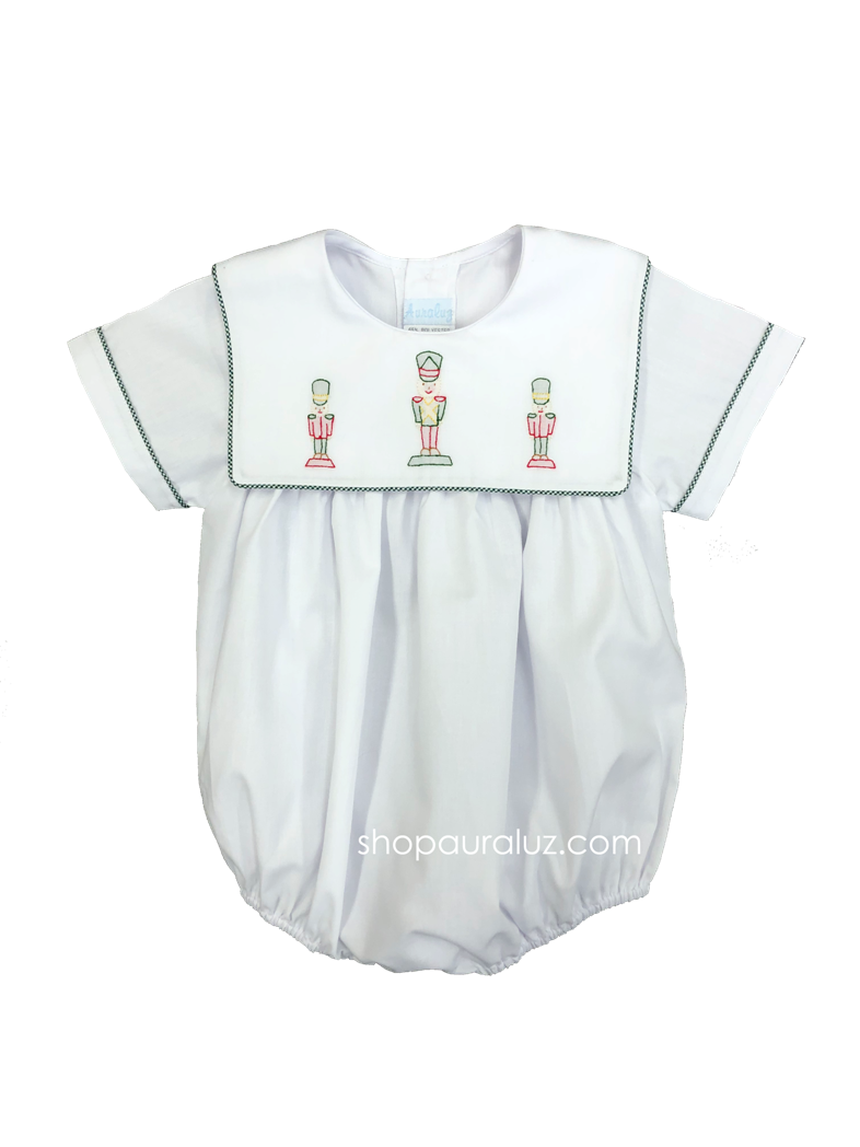 Auraluz Boy Bubble...White with green check trim, sq.collar and embroidered toy soldiers