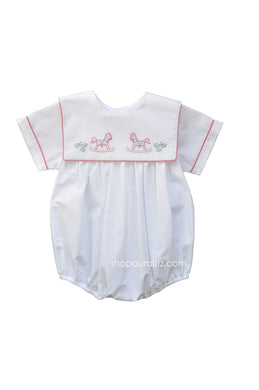 Auraluz Boy Bubble...White with red check trim, sq.collar and embroidered horses