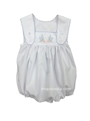 Auraluz Sleeveless Bubble..White with blue scallop trim and embroidered birds