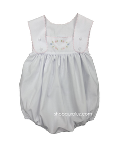 Auraluz Sleeveless Bubble..White with pink scallop trim and embroidered flowers