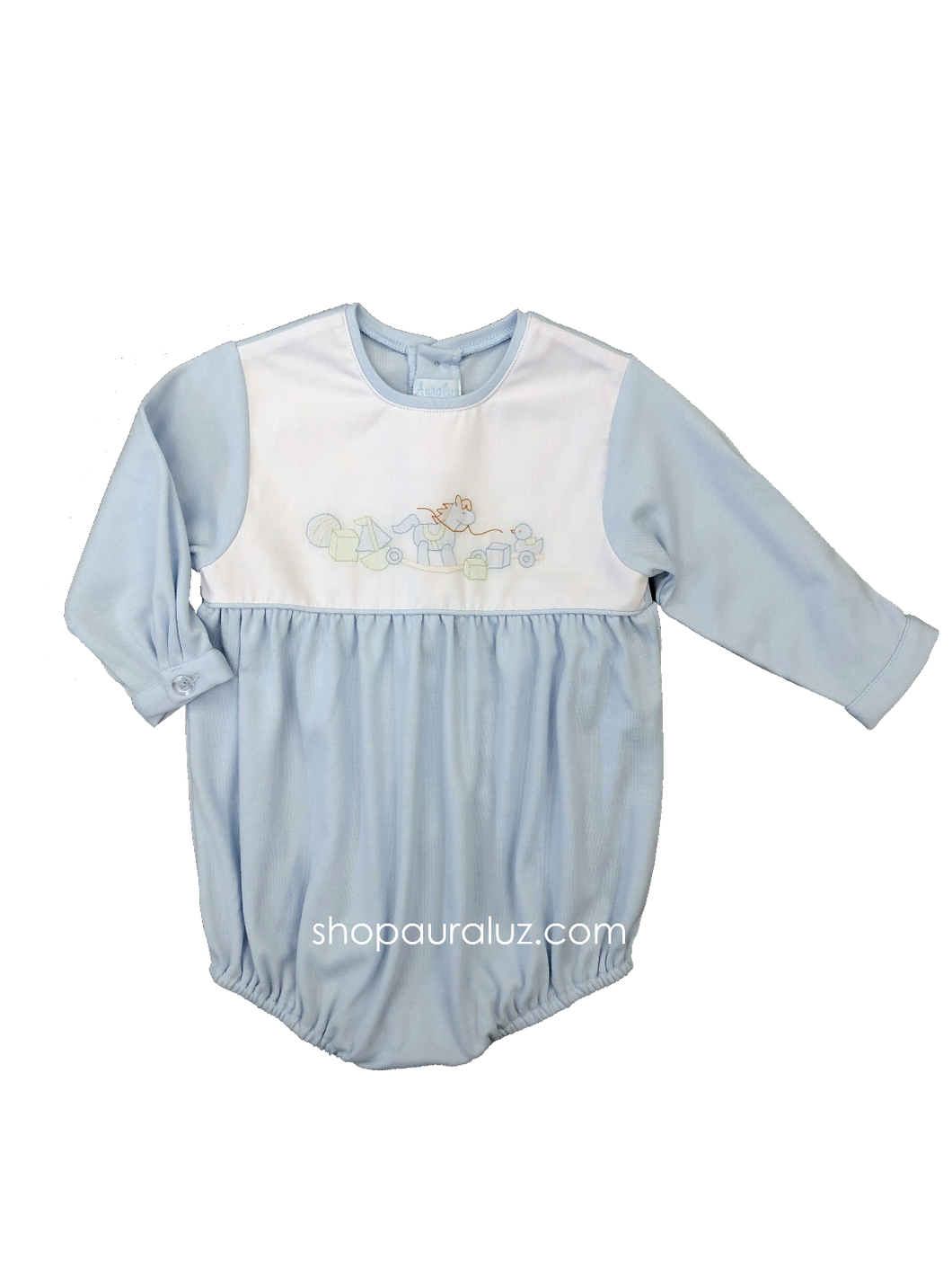 Auraluz Knit Bubble l/s...Blue with no collar and embroidered rocking horse