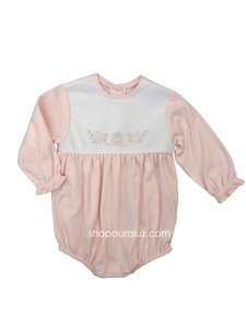 Auraluz Knit Bubble l/s...Pink with no collar and embroidered doves with ribbon