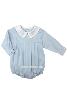 Auraluz Knit Bubble l/s...Blue with boy collar and embroidered trains
