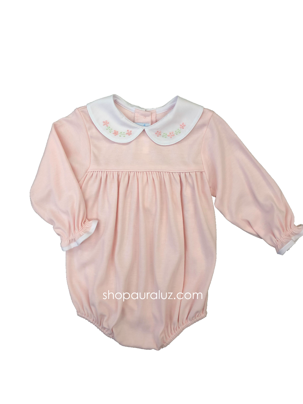 Auraluz Knit Bubble l/s...Pink with p.p.collar and embroidered bow