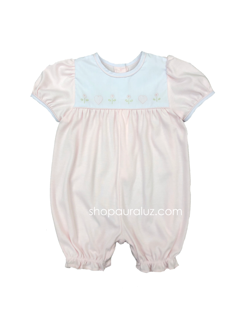 Auraluz Knit Shortall..Pink with embroidered hearts and flowers