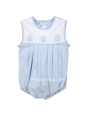 Auraluz Knit Sleeveless Bubble..Blue with embroidered frogs