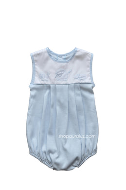 Auraluz Knit Sleeveless Bubble..Blue with embroidered safari animals