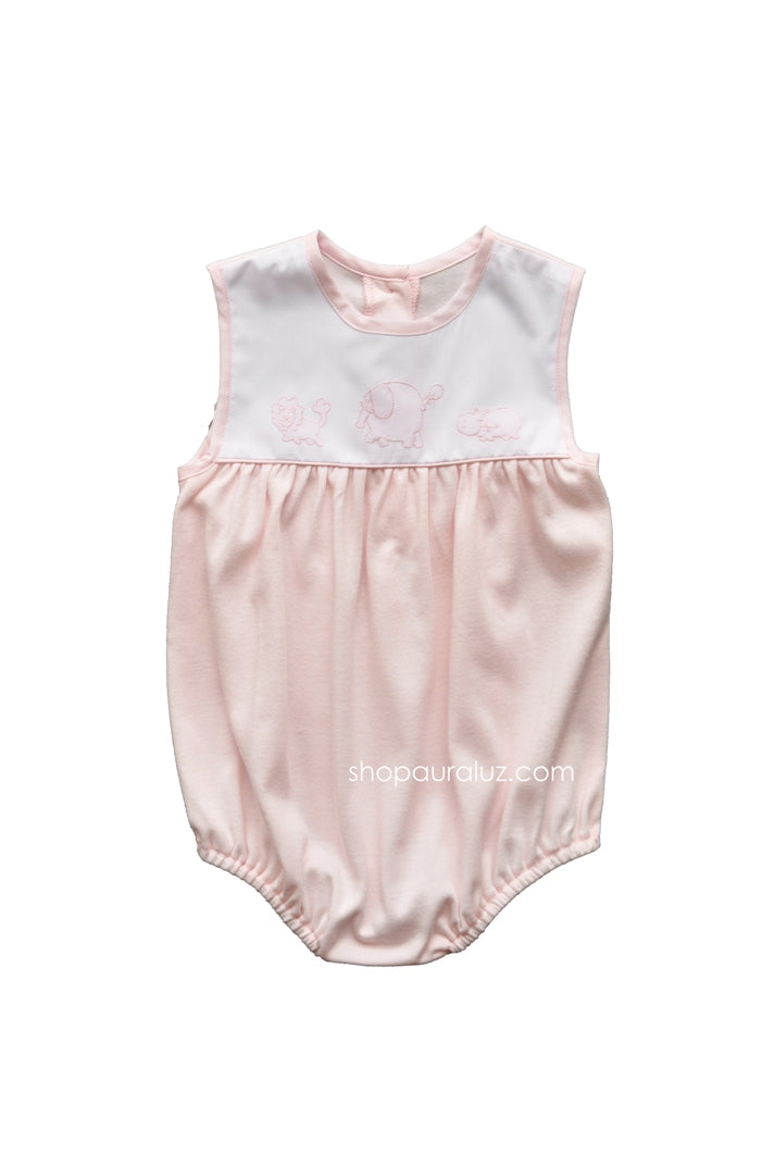 Auraluz Knit Sleeveless Bubble..Pink with embroidered safari animals