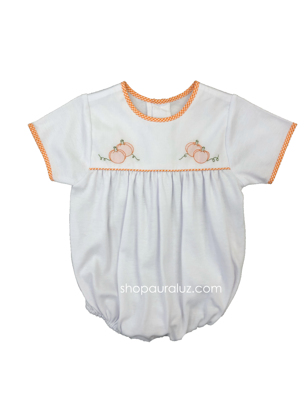 Auraluz Knit Bubble..White with orange check trim and embroidered pumpkins. STORE EXCLUSIVE!