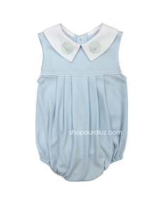 Auraluz Knit Sleeveless Bubble..Blue with white boy collar and embroidered fish