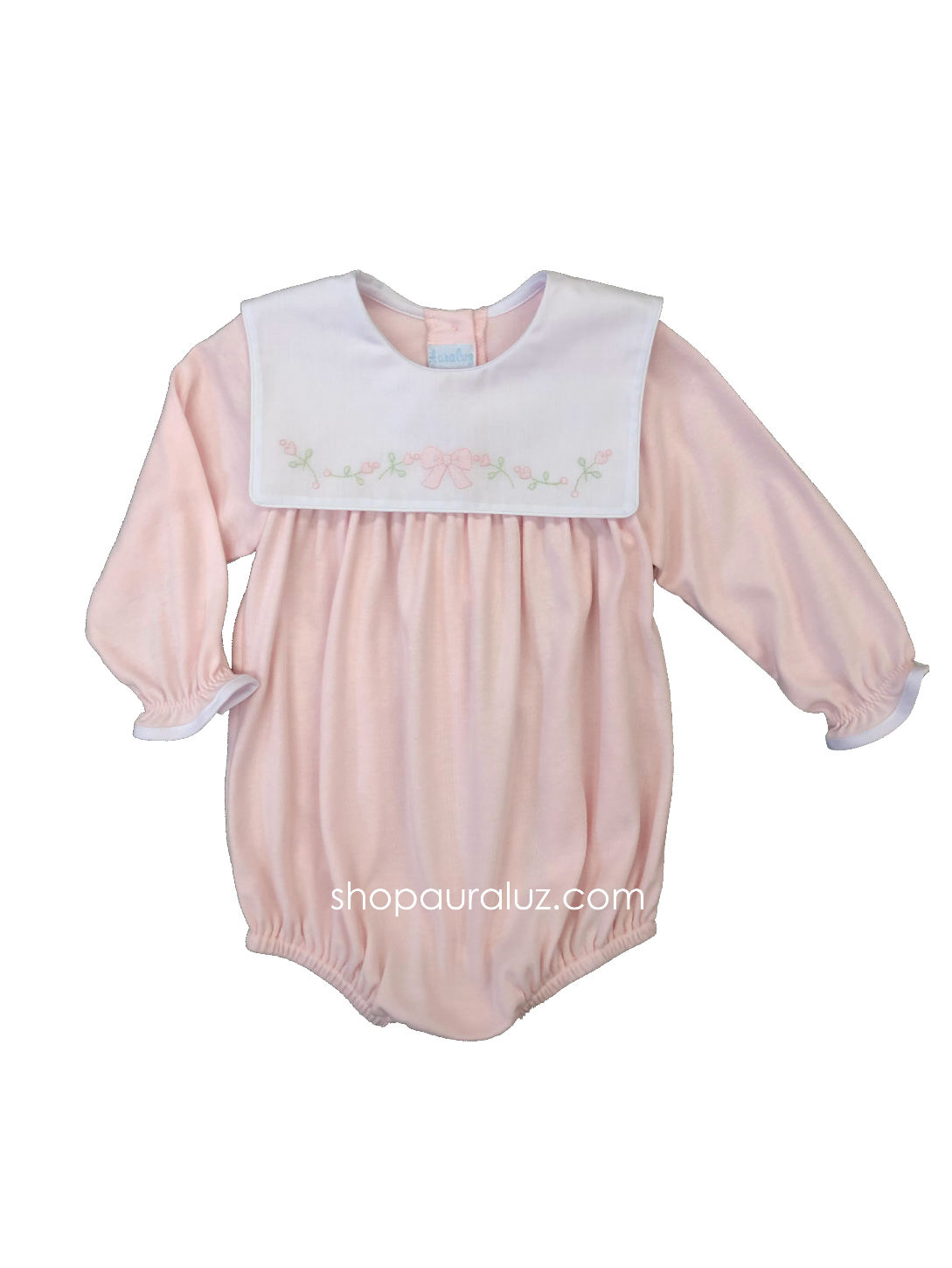Auraluz Knit Bubble l/s...Pink with sq.collar and embroidered bow