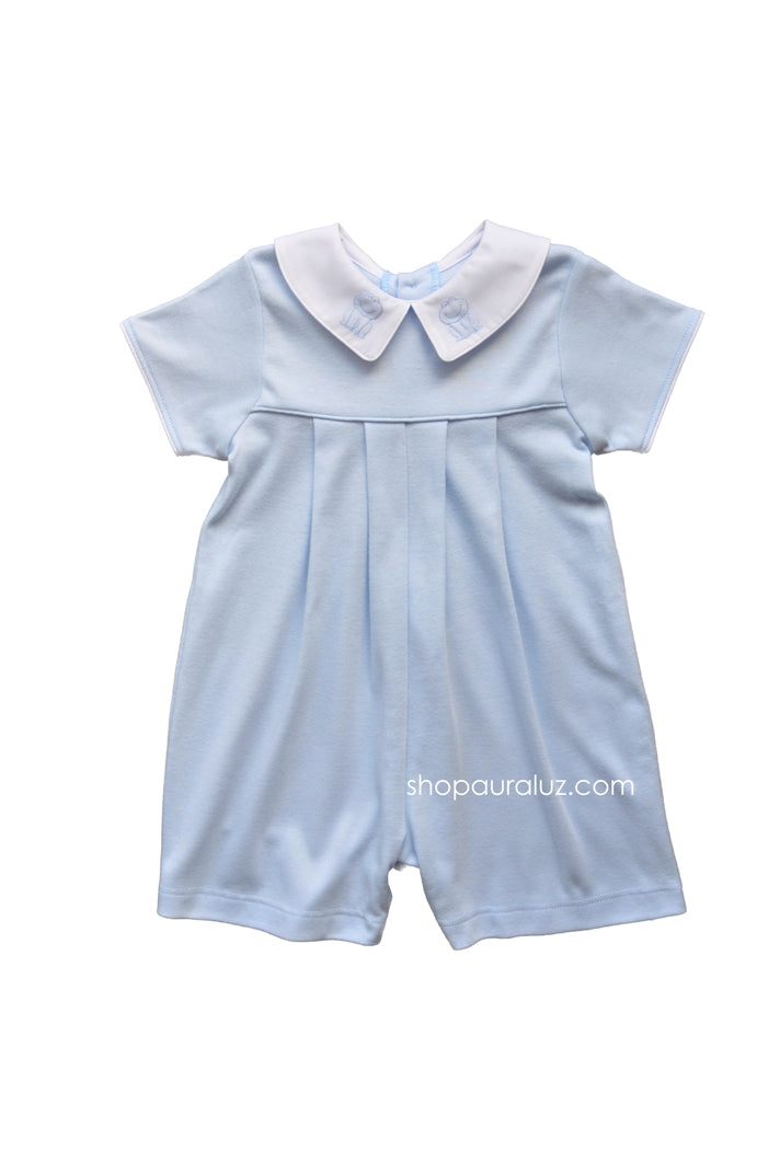 Auraluz Knit Boy Shortall...Blue with p.p.collar and embroidered frogs
