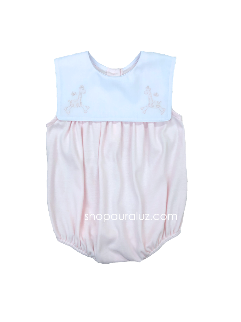 Auraluz Sleeveless Knit Girl Bubble...Pink with square collar and embroidered giraffes