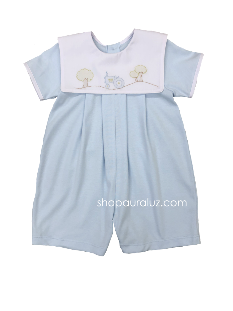 Auraluz Knit Boy Shortall...Blue with square collar and embroidered tractor