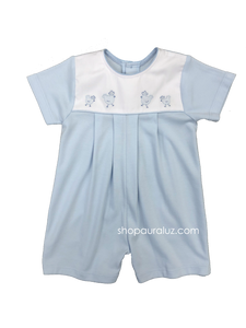 Auraluz Knit Shortall..Blue with embroidered chickens