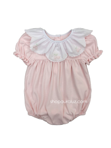 Auraluz Knit Bubble..Pink with ruffle collar and embroidered flowers