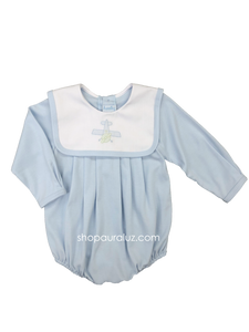 Auraluz Knit Boy Bubble, l/s...Blue with white square collar and embroidered airplane