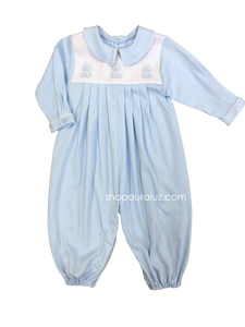 Auraluz Knit Longall...Blue with embroidered puppies