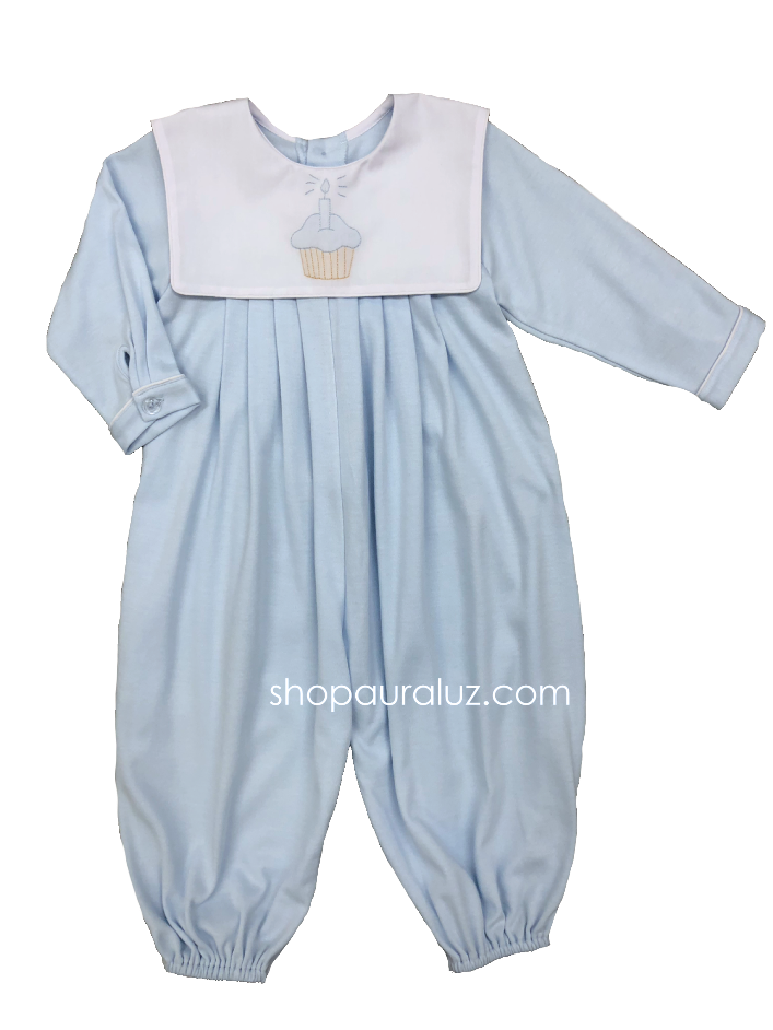 Auraluz Knit Longall...Blue with sq.collar and embroidered cupcake. STORE EXCLUSIVE!