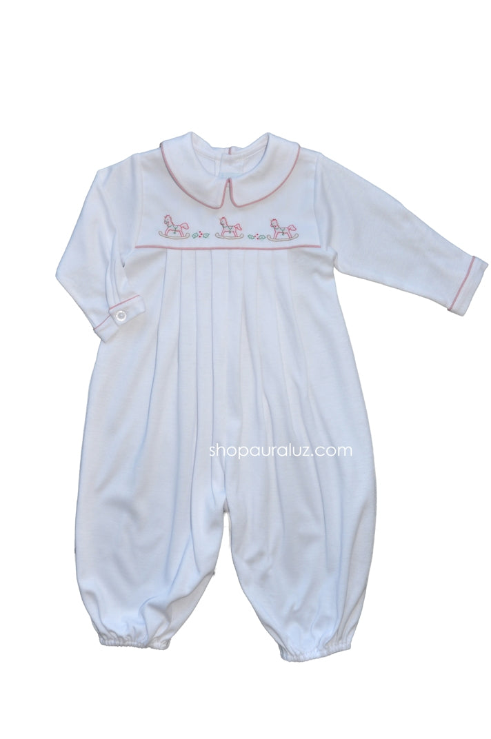 Auraluz Knit Longall...White with red trim and embroidered tiny horses