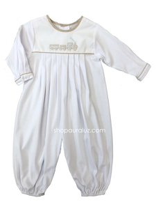 Auraluz Knit Longall...White with  khaki check trim and embroidered train