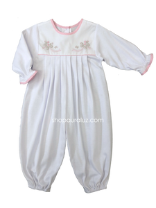Auraluz Knit Longall...White with pink check trim and embroidered ribbons