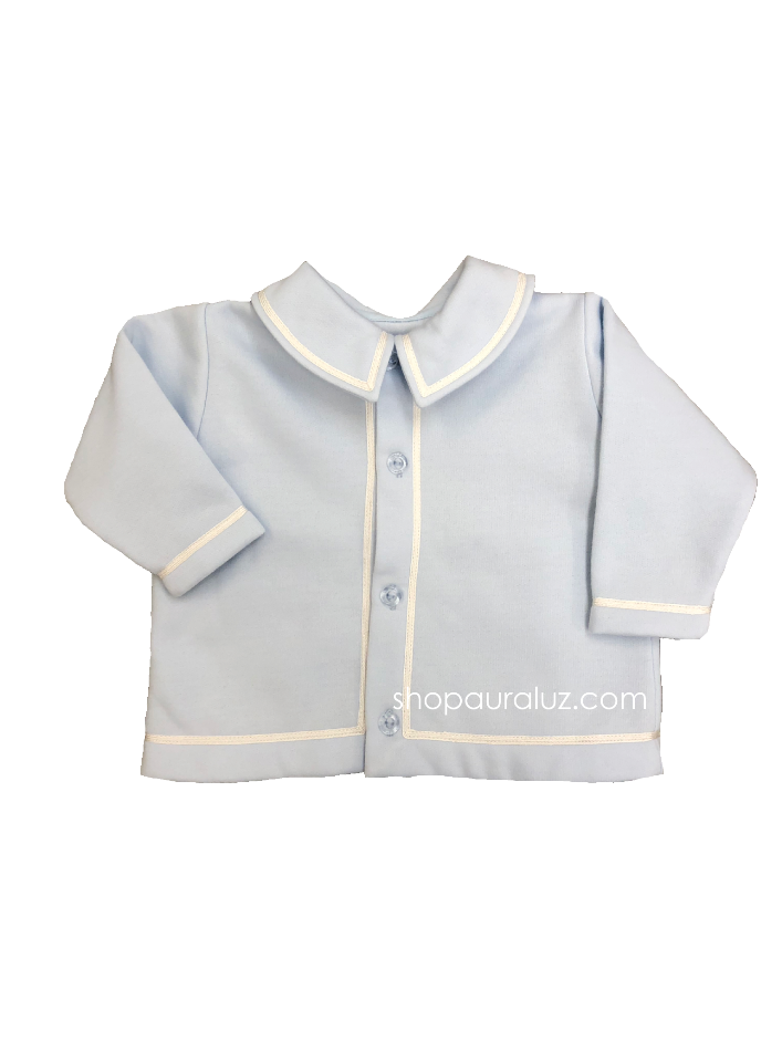 Auraluz Boy Fleece Jacket..Blue with white shiny ribbon trim. STORE EXCLUSIVE!