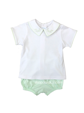 Auraluz Boy 2pc Knit Set..Green/White with embroidered grasshoppers