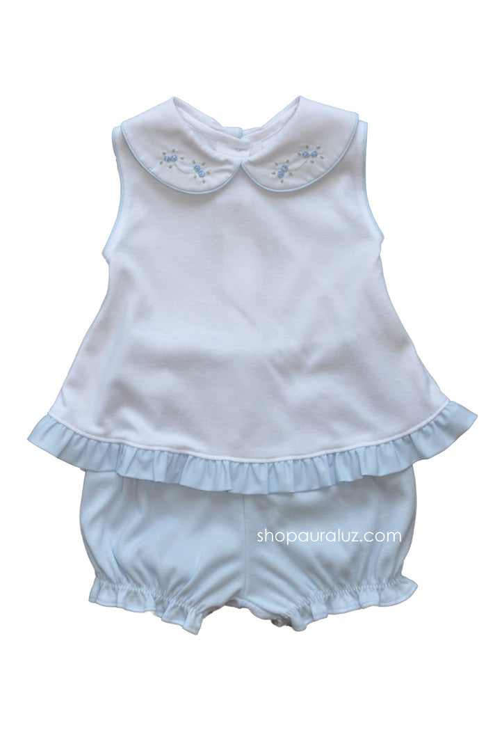 Auraluz Girl Sleeveless 2pc Knit Set..Blue/White with embroidered flowers